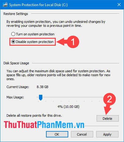 Tích chọn Disable system protection