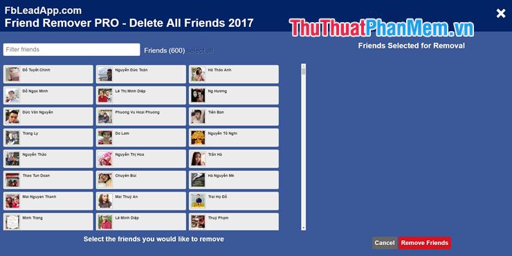 Xuất hiện danh sách bạn bè