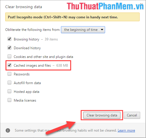 Chọn Clear browsing data