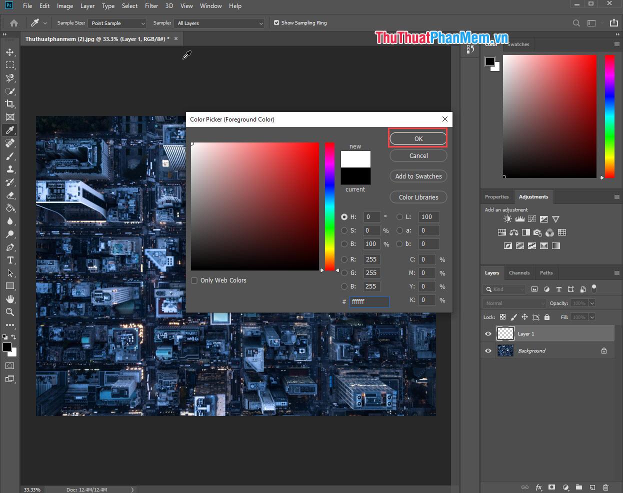 Tiến hành chọn màu sắc mà mình muốn đổ lên ảnh
