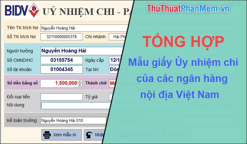Tổng hợp mẫu giấy ủy nhiệm chi của các ngân hàng Việt Nam