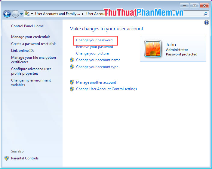 Chọn Change your password