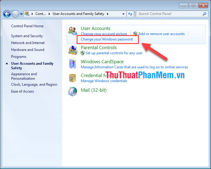 Chọn Change your Windows password