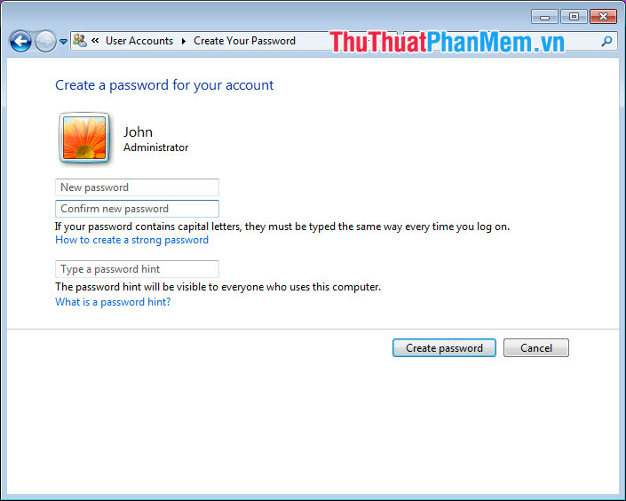 Chọn Create password