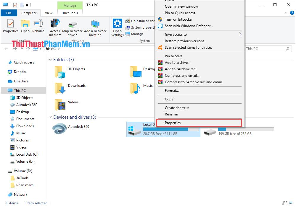 Chọn Properties của ổ đĩa chứa hệ điều hành