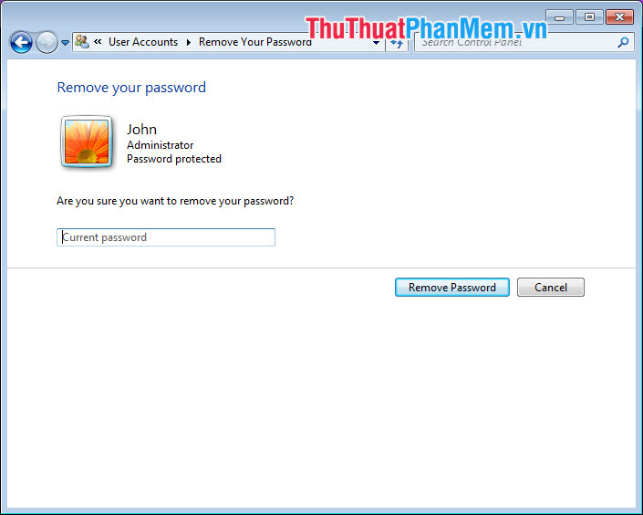 Chọn Remove Password