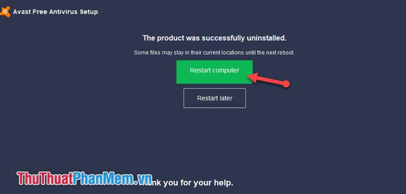 Chọn Restart computer