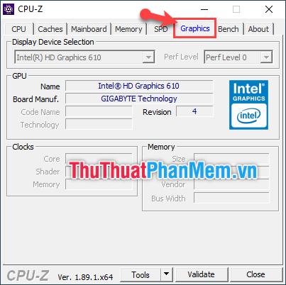 Chọn tab Graphics