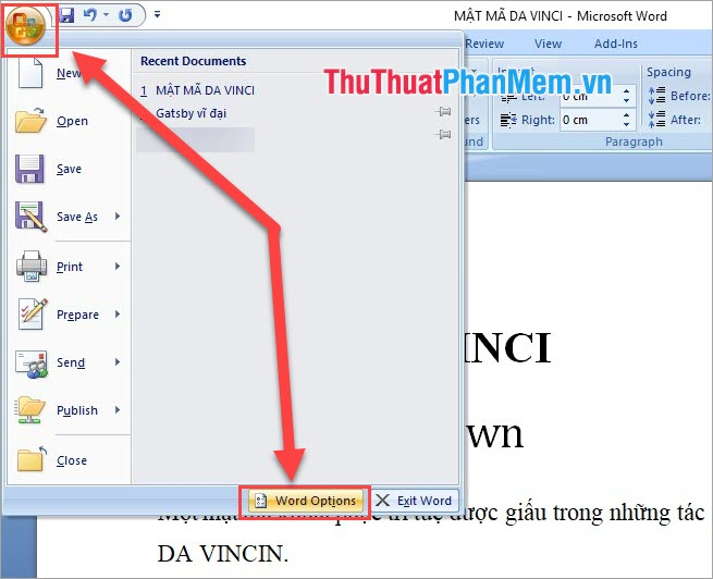 Chọn Word Options
