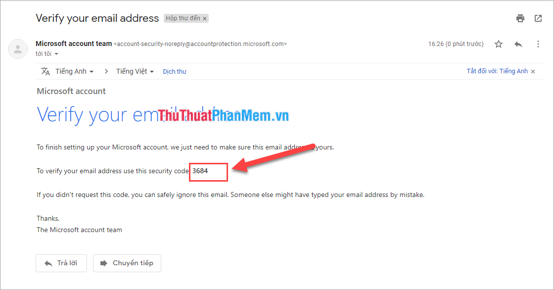 Kiểm tra mã code trong Email