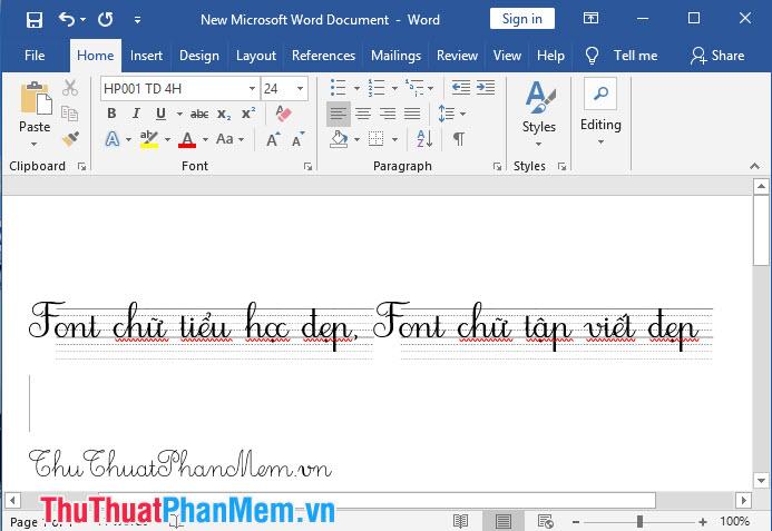 Font chữ tiểu học, font chữ tập viết đẹp