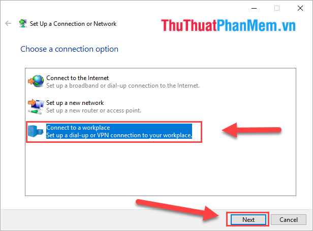 Chọn Connect to a workplace