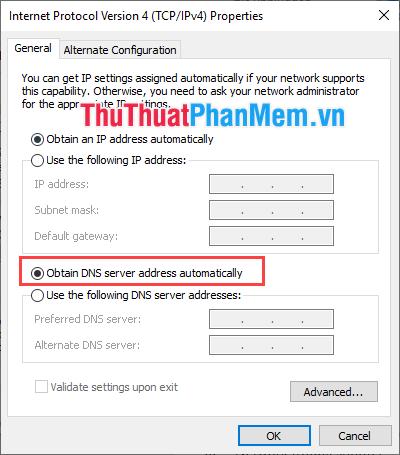 Chọn Obtain DNS server address automatically