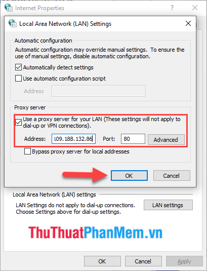 Đánh dấu Use a proxy server for your LAN