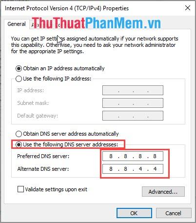 Nhập DNS server