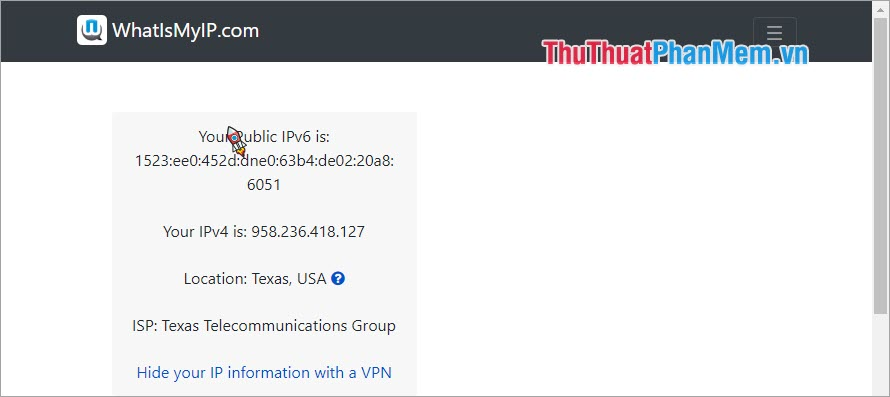 Sử dụng trang web để check VPN 3