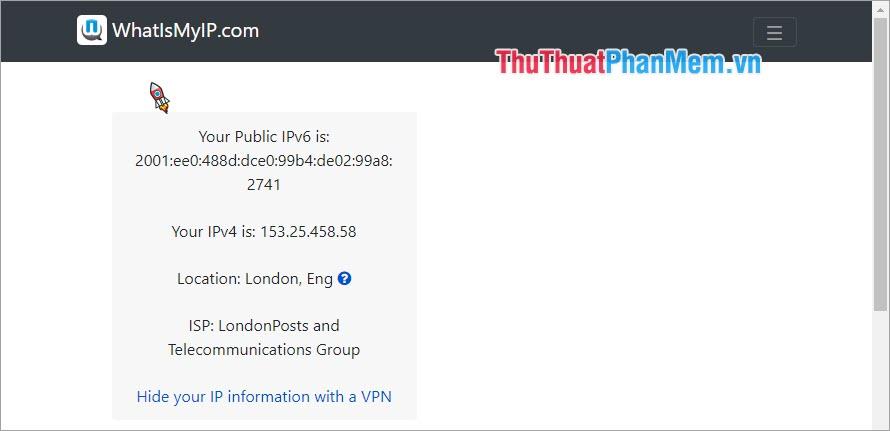 Sử dụng trang web để check VPN