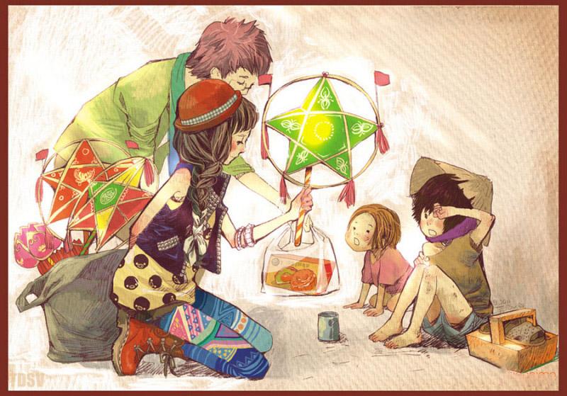 Vẽ tranh đề tài trung thu anime