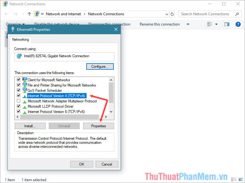 Chọn Internet Protocol Verion 4
