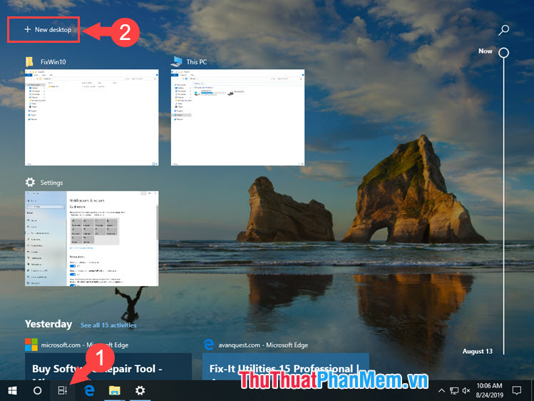 Chọn New desktop