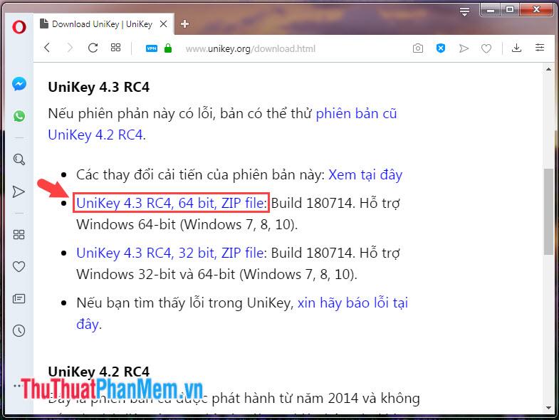 Chọn phiên bản Unikey tải về