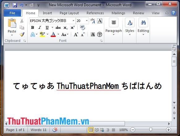 Font tiếng Nhật EPSON