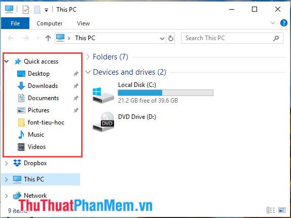 Tắt tính năng Quick Access trong File Explorer