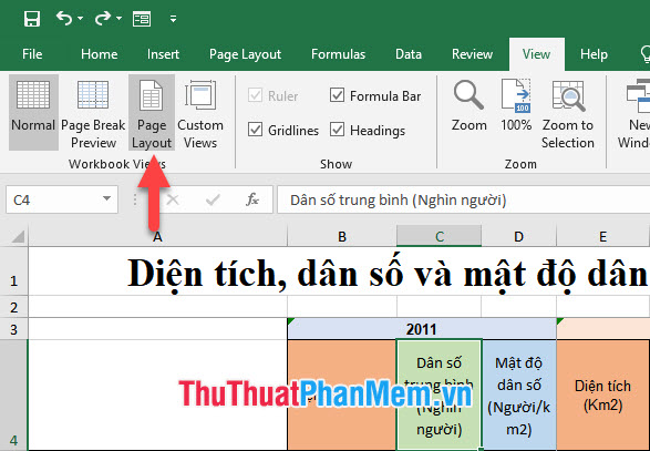 Chọn Page Layout