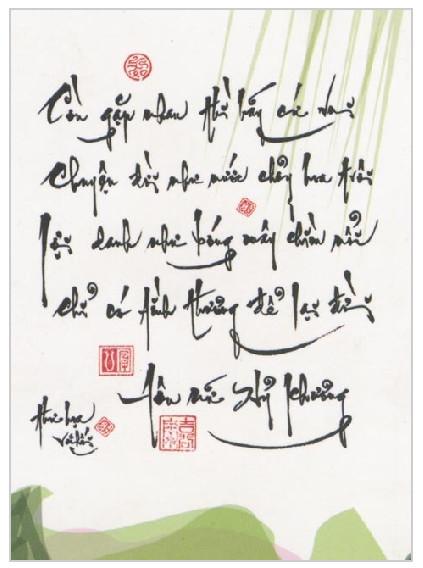 Mẫu chữ thư pháp ý nghĩa