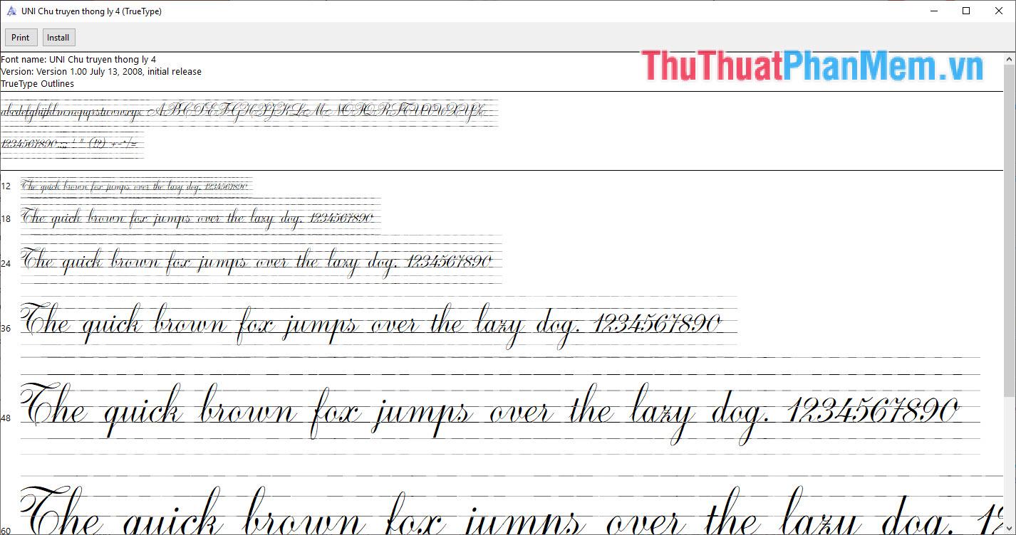 Font chữ bút máy truyền thống