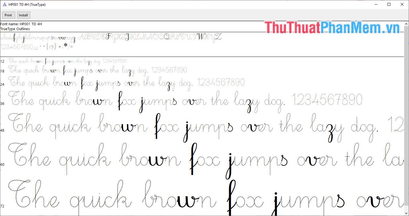 Font chữ cho các bé tập viết tay