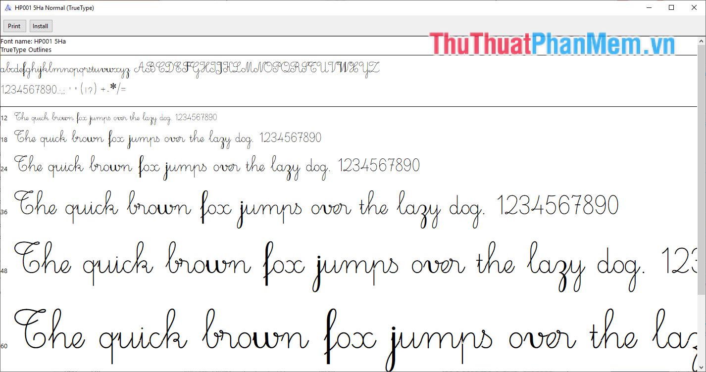 Font chữ nét thanh nét đậm