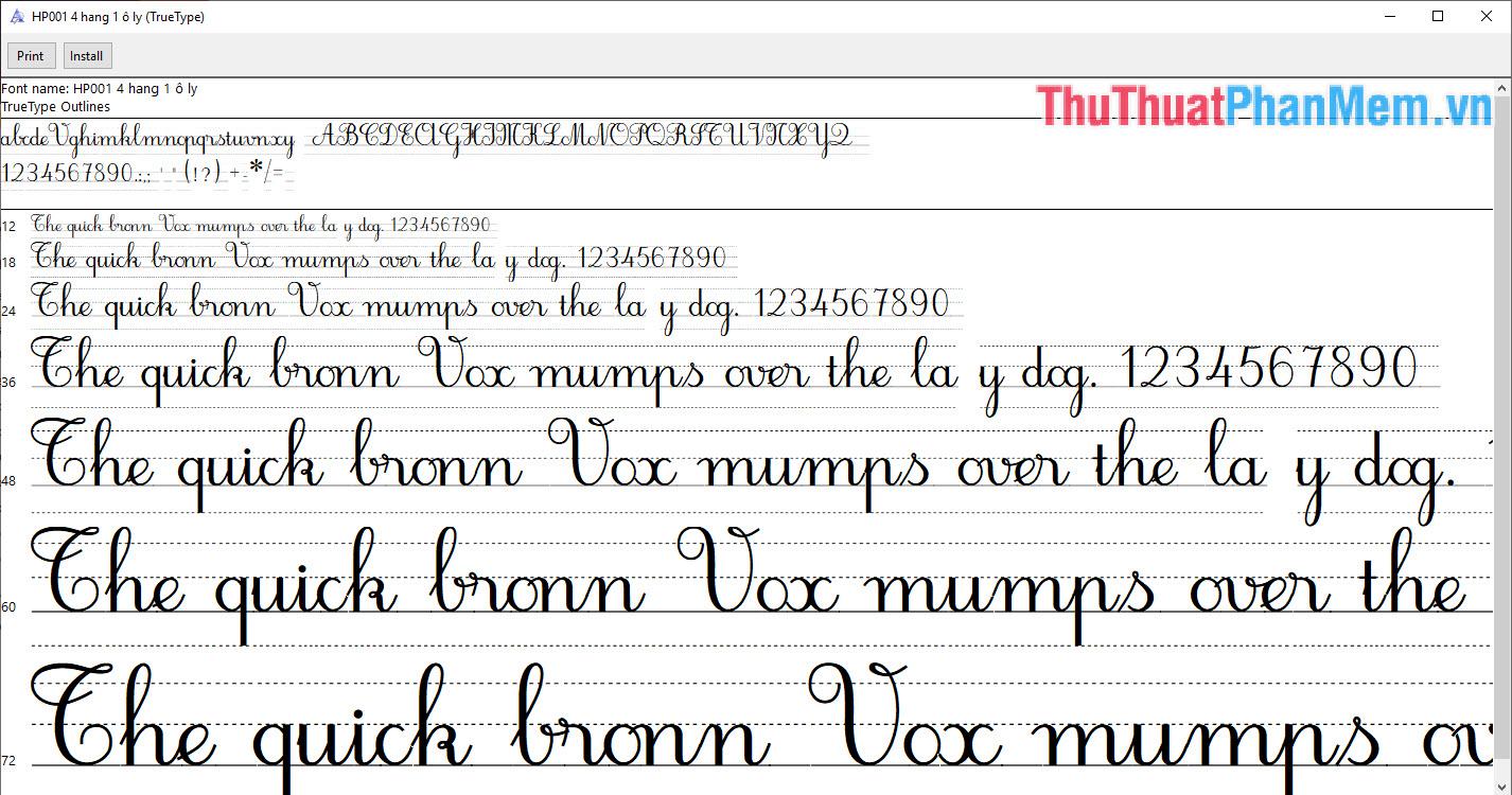 Font chữ viết tay nét thanh nét đậm