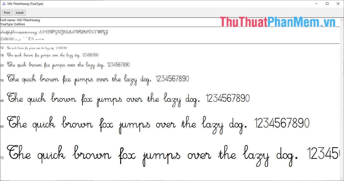Font chữ viết tay truyền thống đẹp