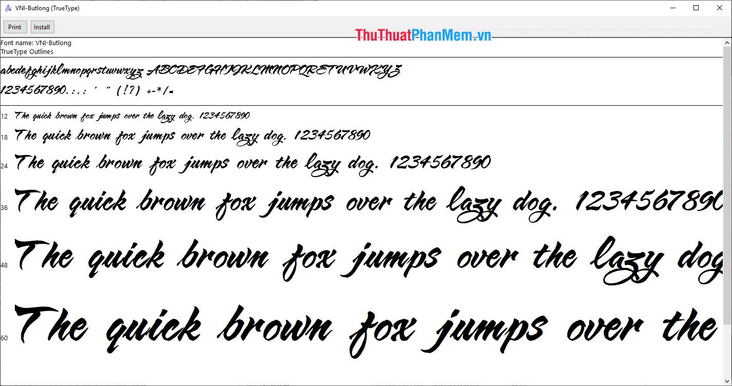 Font thư pháp hiện đại