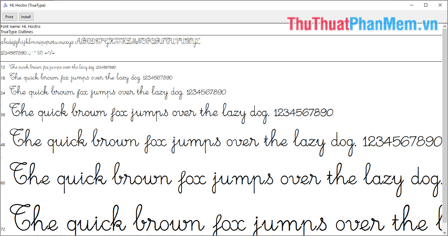 Hình ảnh mẫu của Font chữ
