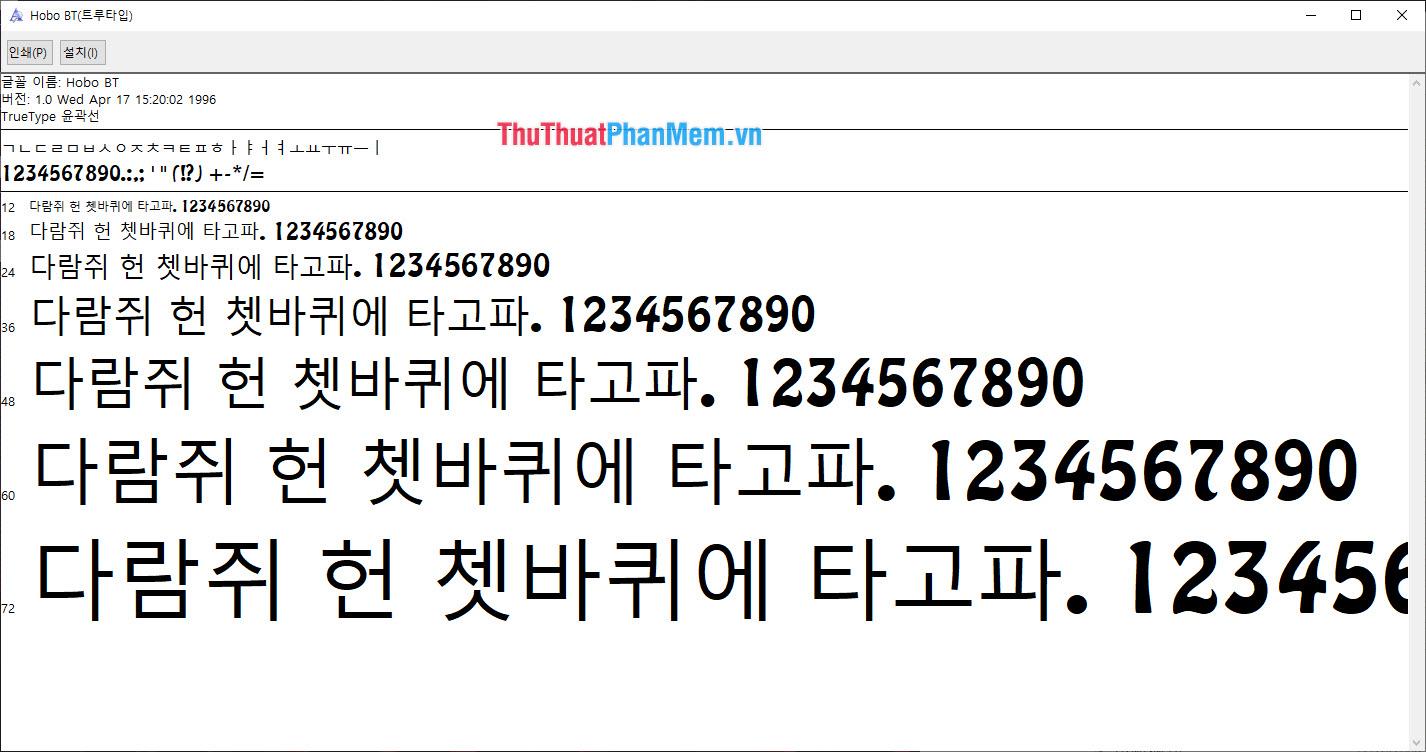Bộ Font tiếng Hàn soạn thảo