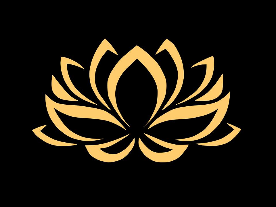 Logo hoa nền đen