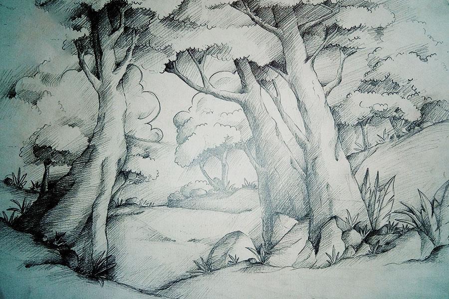 Tranh phong cảnh vẽ bằng chì