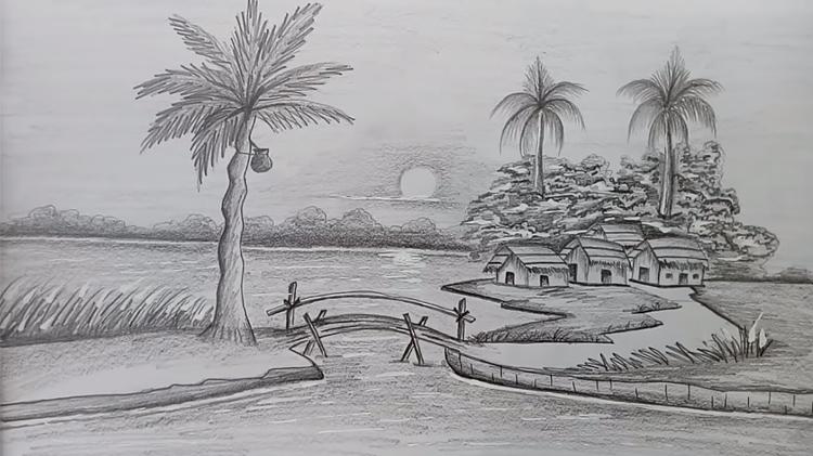 Tranh phong cảnh vẽ chì