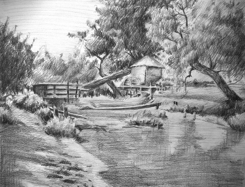 Tranh vẽ chì đẹp phong cảnh
