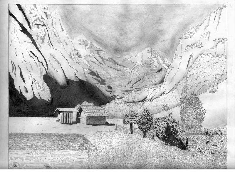 Tranh vẽ chì đồi núi