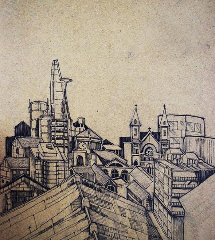 Tranh vẽ chì thành phố