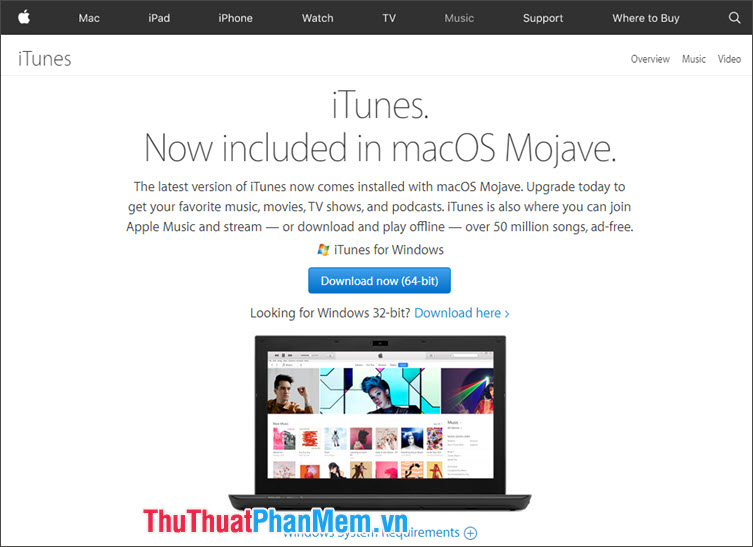 Truy cập trang chủ iTunes