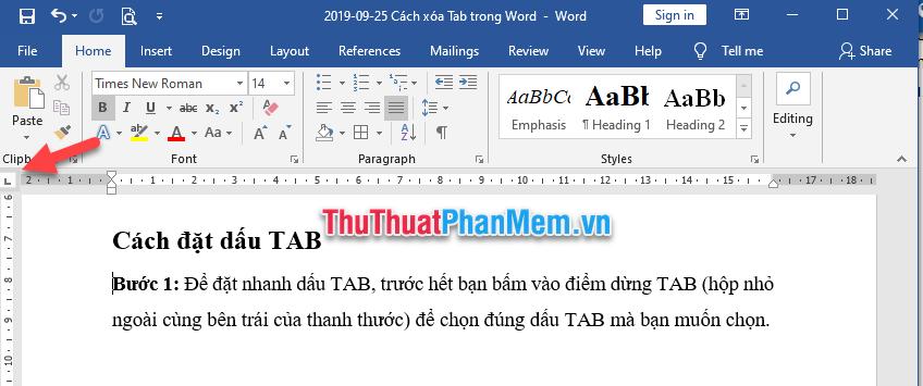 Chọn đúng dấu TAB mà bạn muốn