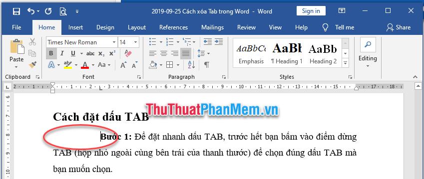 Kết quả thu được đoạn văn thụt vào theo định vị dấu TAB