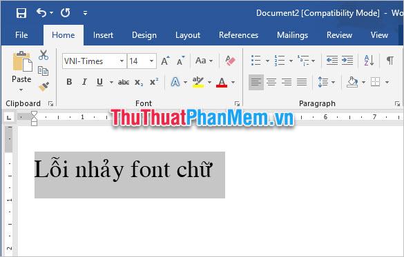 Font chữ mặc định của Word đã được thay đổi theo font bạn lựa chọn