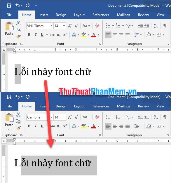 Lỗi nhảy font chữ