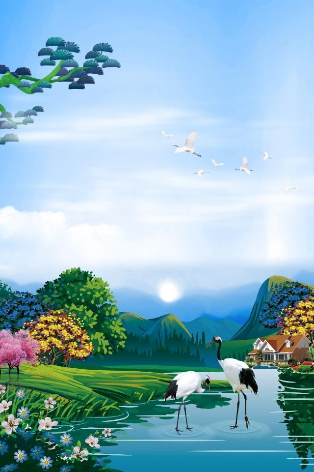 Background thiên nhiên tranh vẽ