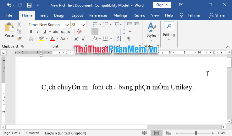 Văn bản bị lỗi font